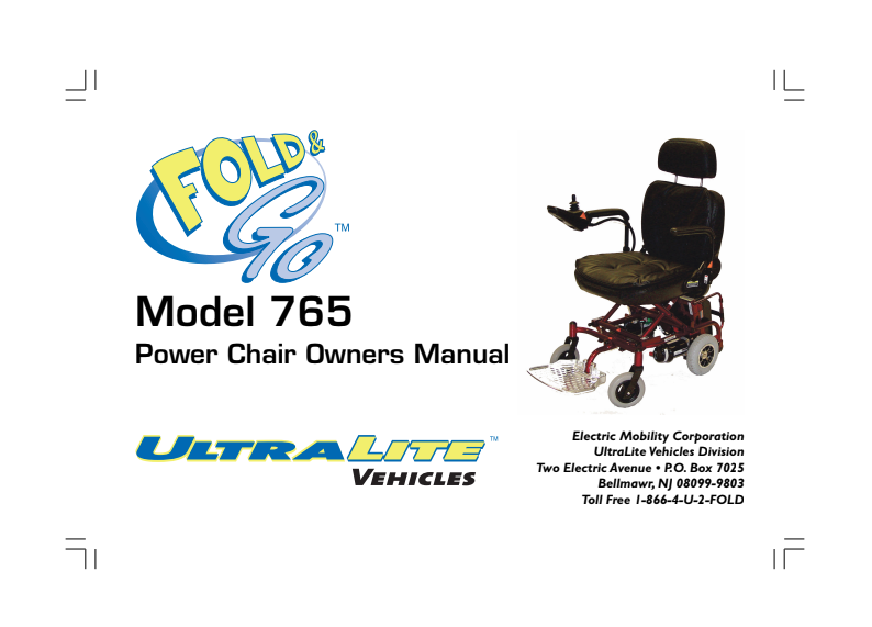 Fold & Go Model 765 Owner's Manual